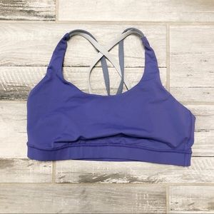 lululemon purple training sports bra grey straps